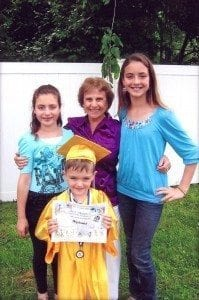 Tom Thumb graduate from preschool with his 2 sisters, also graduates