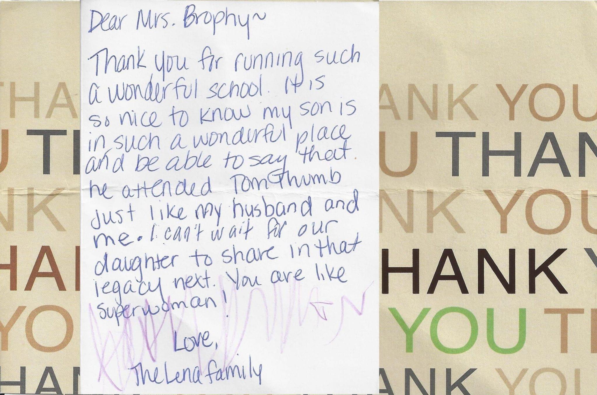 Tom Thumb Alumni Thank You Note