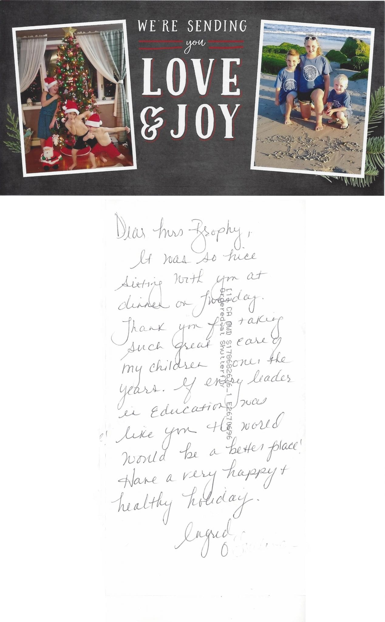Thank You Note from The O Family