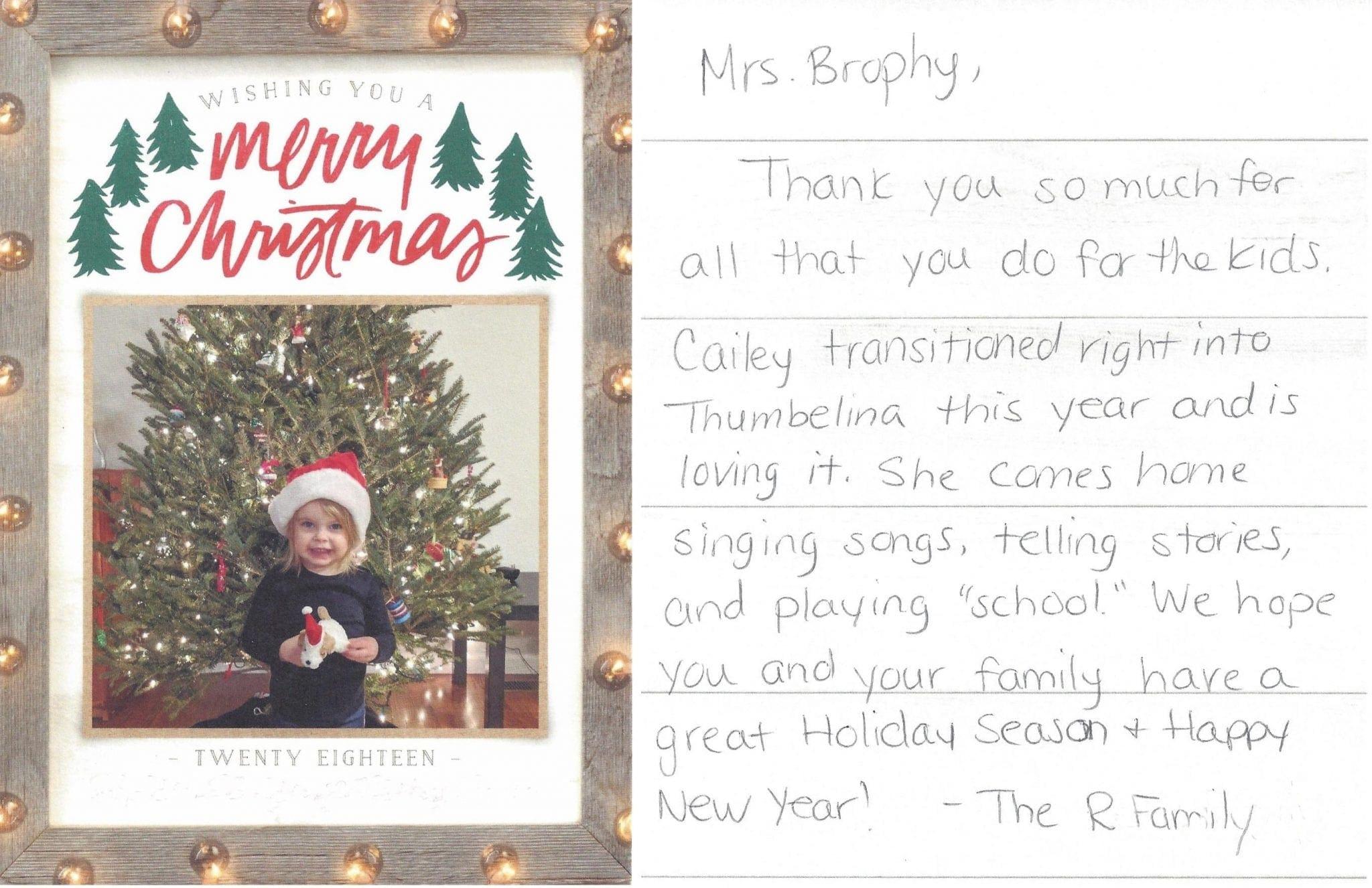ThumBelina 2's Program Thank You from the R Family