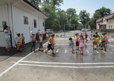 get wet with water at summer camp