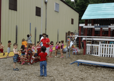 kids at the large playground