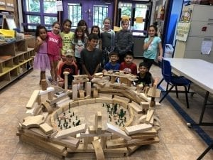 tom thumb SAPS Club- after school program - kids building castle structure