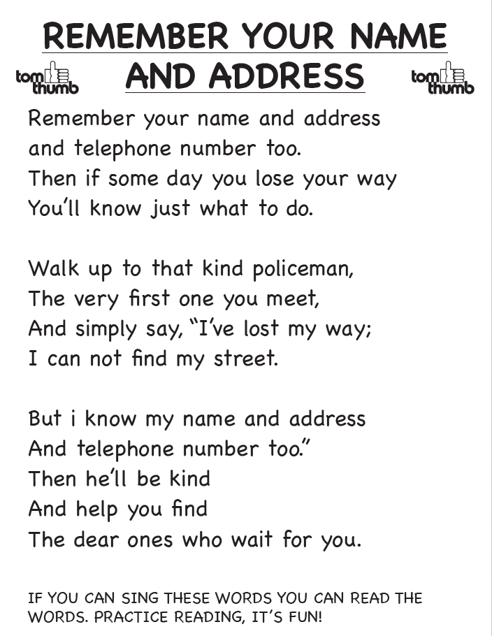 remember your name & address