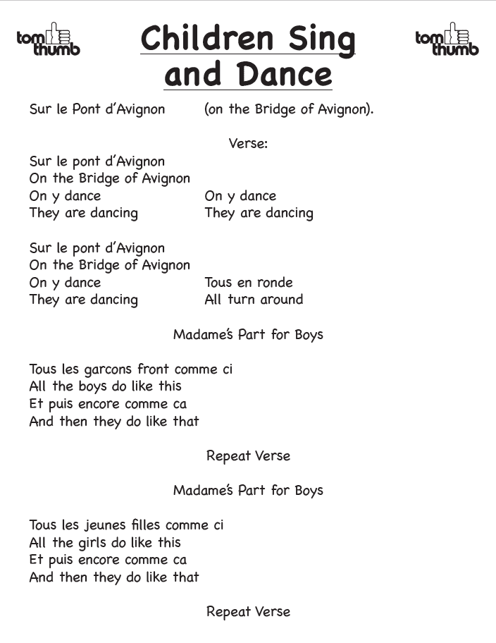Lyrics to the french song