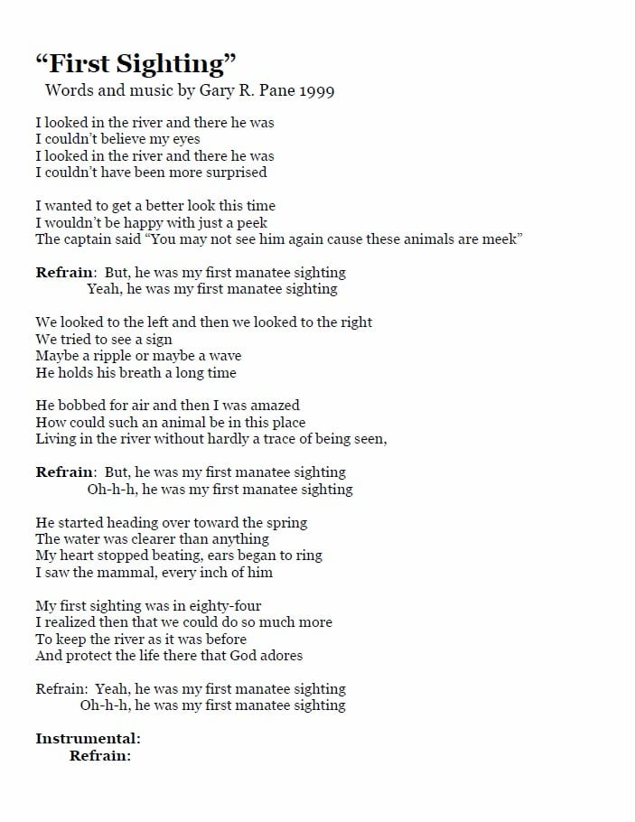 lyrics to the first sighting song by gary pane