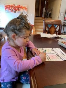 maya working on a worksheet