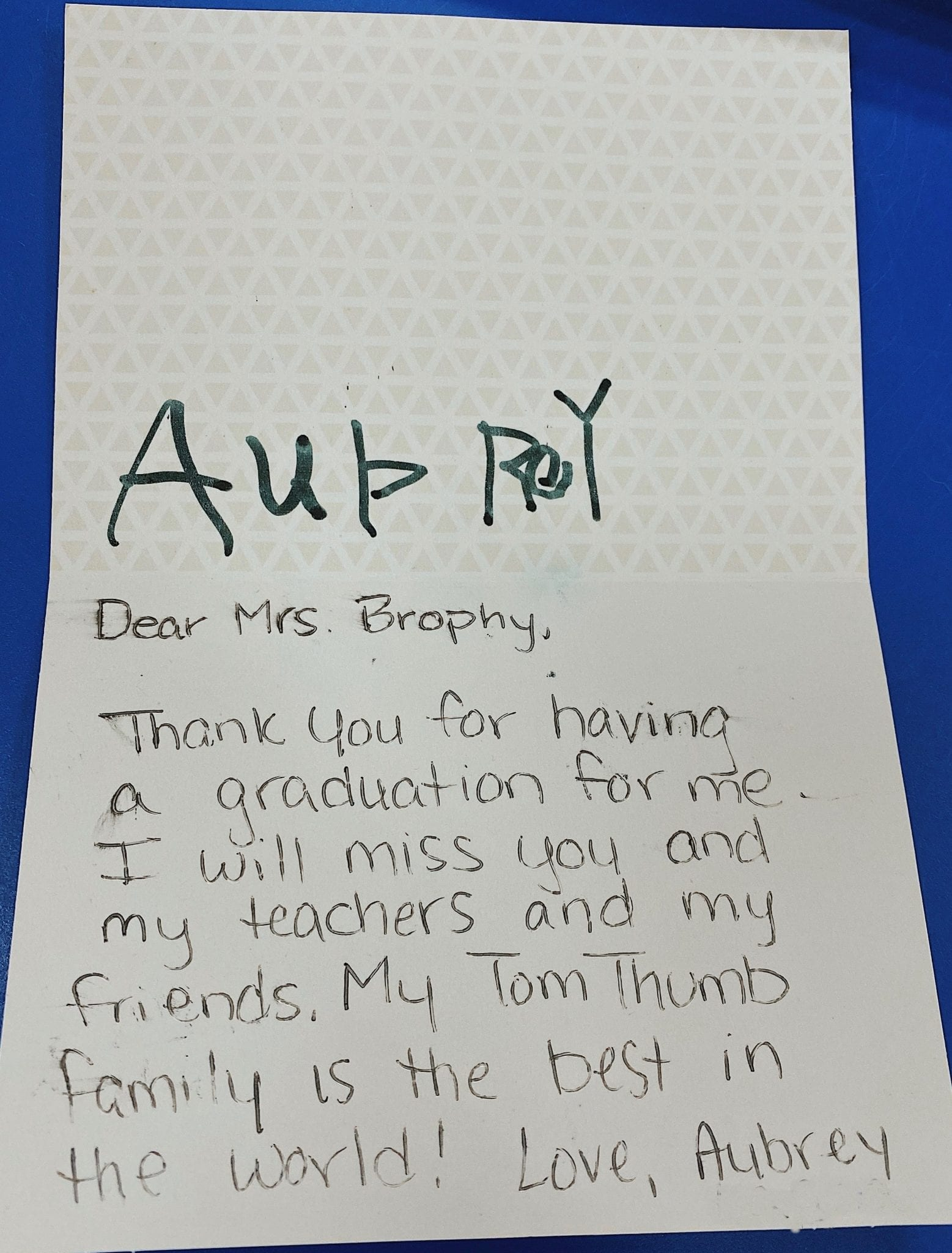 tom thumb student thank you note