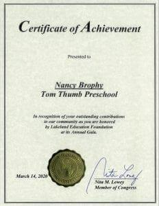 US House of Representatives Certificate of Achievement to Tom Thumb Preschool