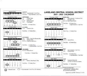 2021-2022 Lakeland Central School District Calendar